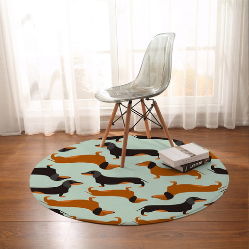 Cartoon Dachshund Round Mat-Cartoon Dachshund-Little Squiffy