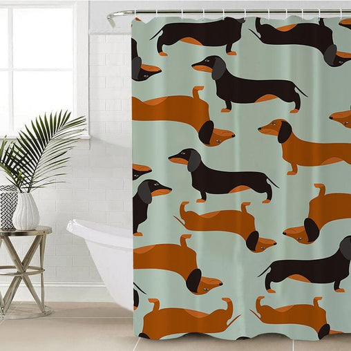 Cartoon Dachshund Shower Curtain-Cartoon Dachshund-Little Squiffy
