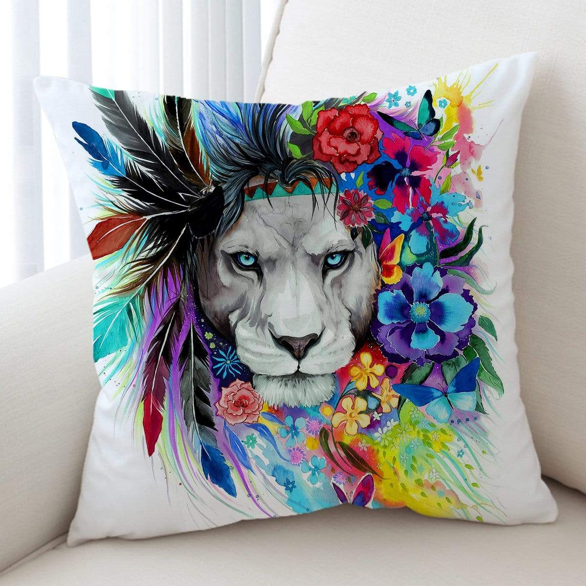 Water Colour Lion Cushion Cover