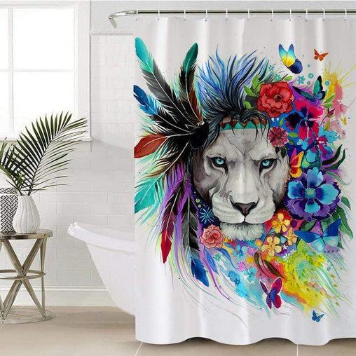 Water Colour Lion Shower Curtain-Water Colour Lion-Little Squiffy