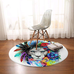 Water Colour Lion Round Mat-Water Colour Lion-Little Squiffy