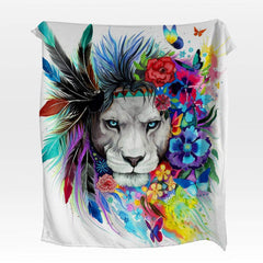Water Colour Lion Squiffy Minky Blanket-Water Colour Lion-Little Squiffy