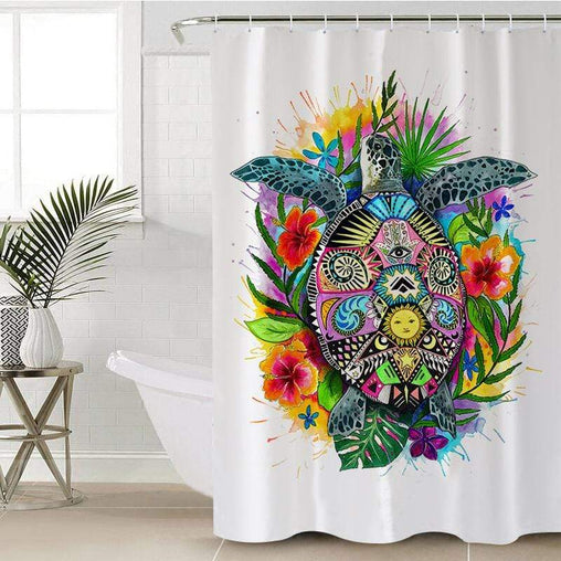 Turtle of Life Shower Curtain-Turtle of Life-Little Squiffy