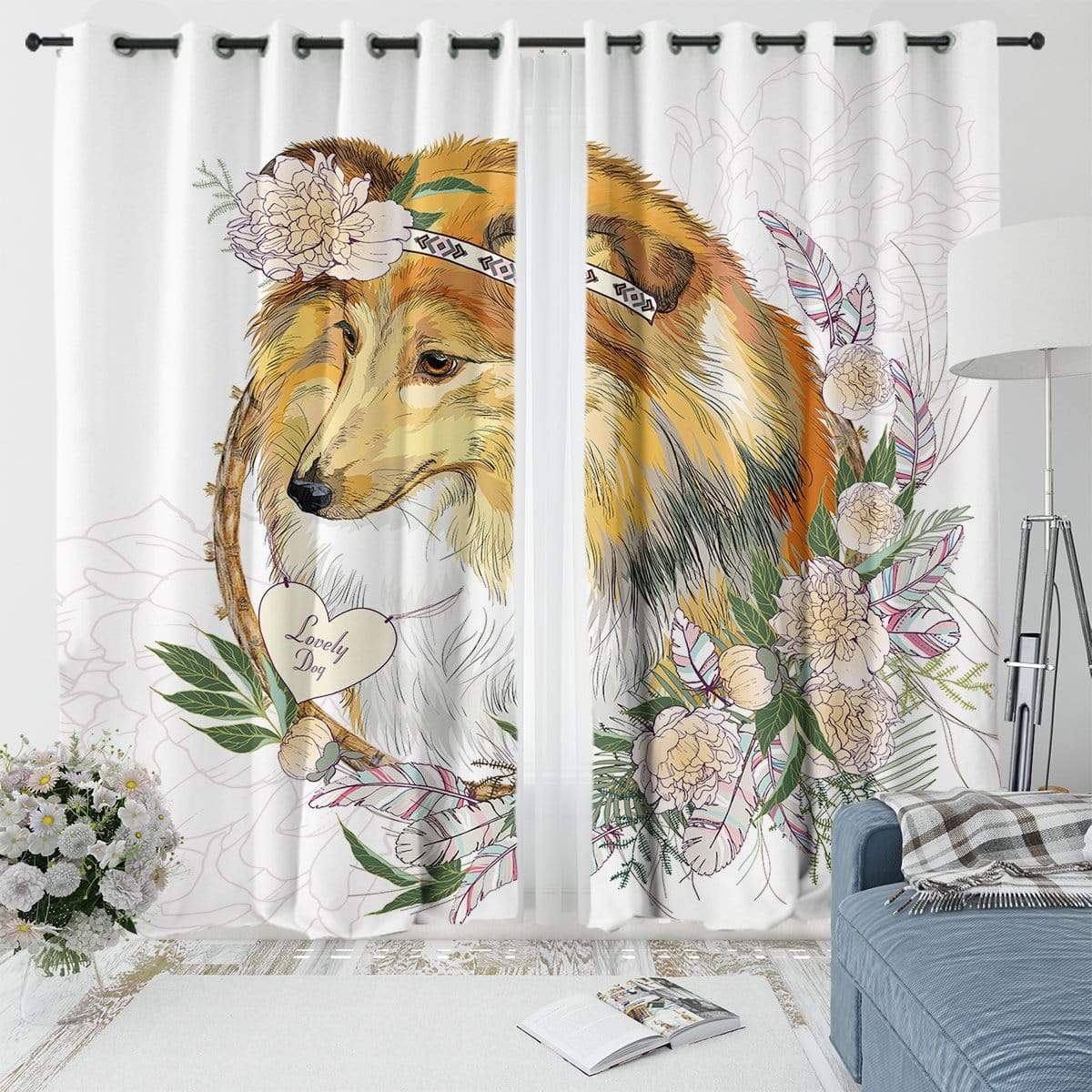 Lassie Collie Curtain Set