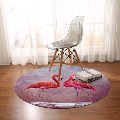 Pink Lake Flamingo Round Mat-Pink Lake Flamingo-Little Squiffy
