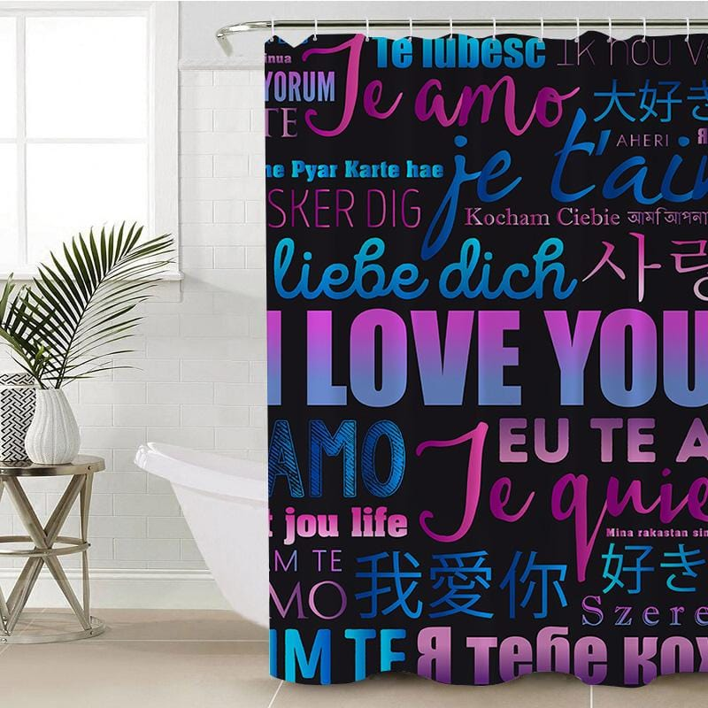 I Love You Shower Curtain-I Love You-Little Squiffy