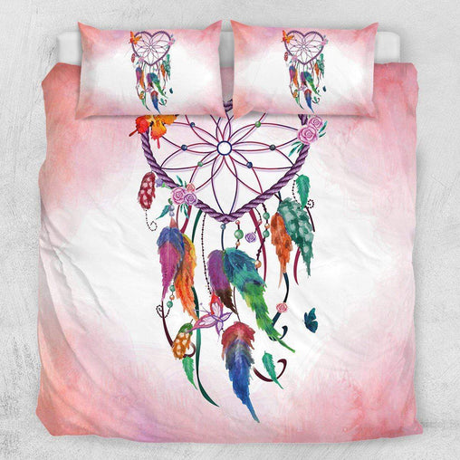 Pink and Blue Heart Dreamcatcher Quilt Cover Set