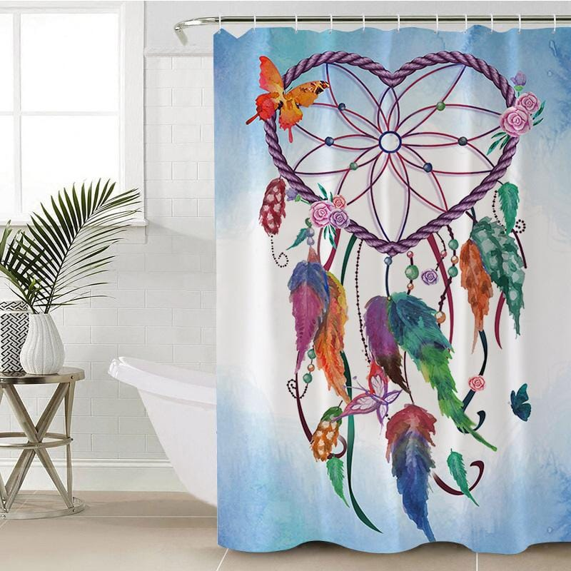 Blue Heart Dreamcatcher Shower Curtain-Blue Heart Dreamcatcher-Little Squiffy