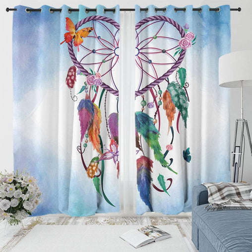 Blue Heart Dreamcatcher Curtain Set
