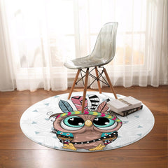 Cartoon Owl Round Mat-Cartoon Owl-Little Squiffy