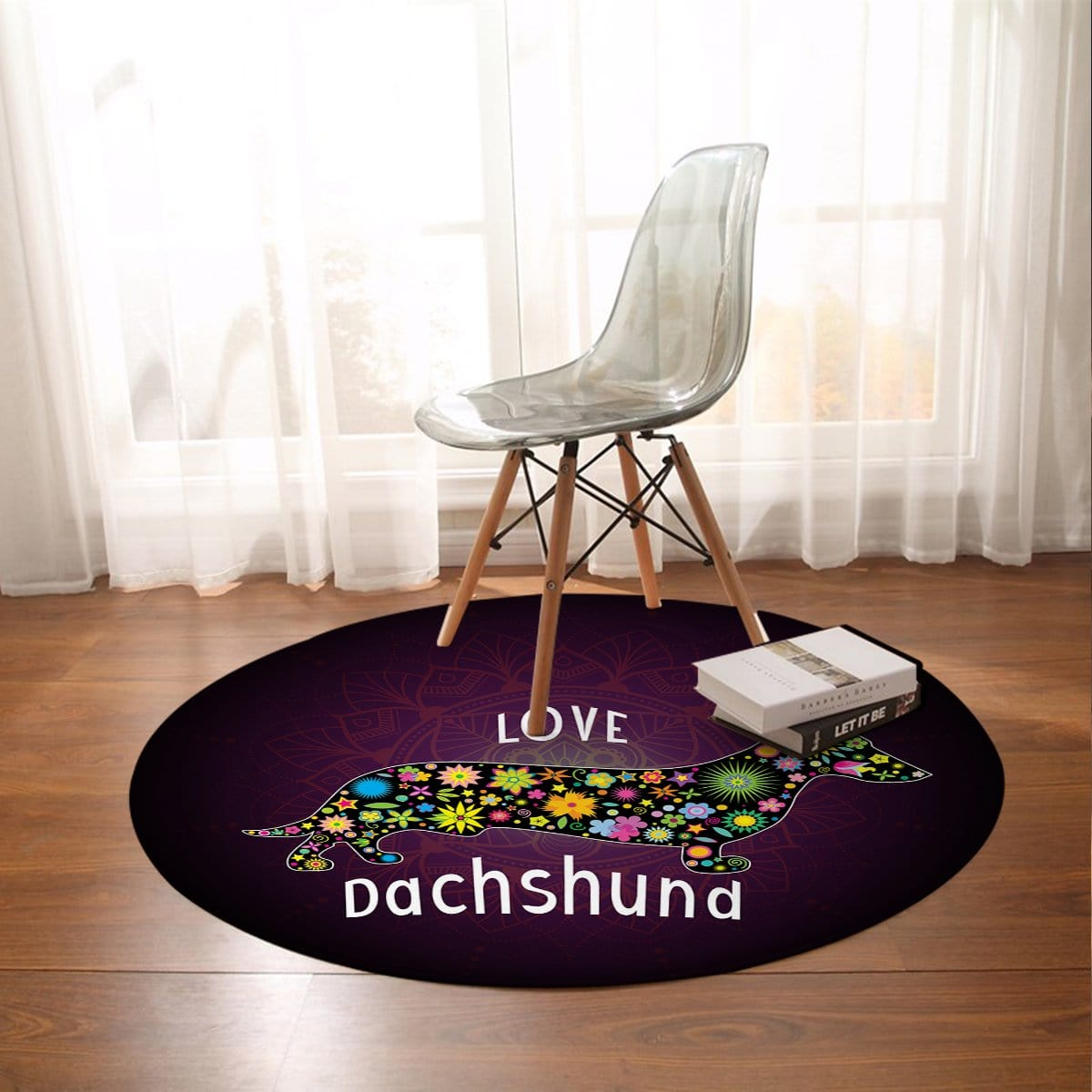 Dachshund Love Round Mat-Dachshund Love-Little Squiffy