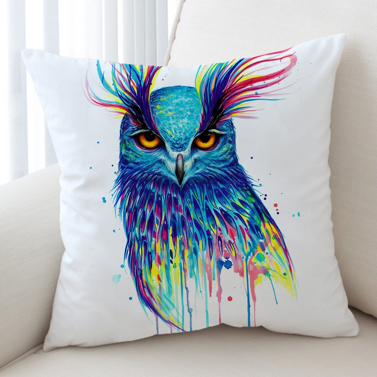 Into the Blue Owl Cushion Cover