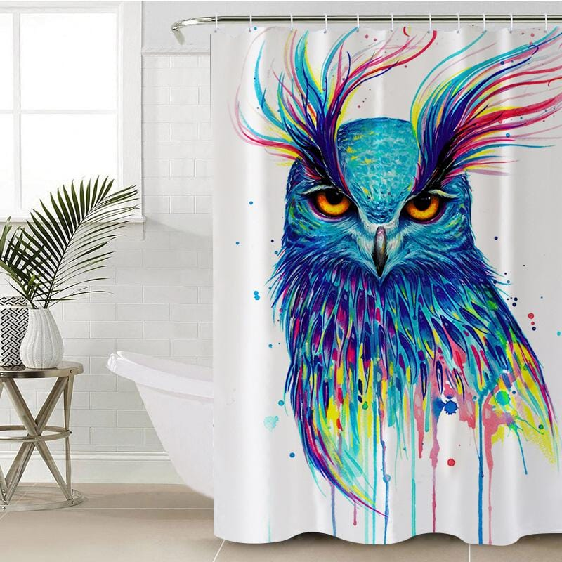 Into the Blue Owl Shower Curtain-Into the Blue Owl-Little Squiffy