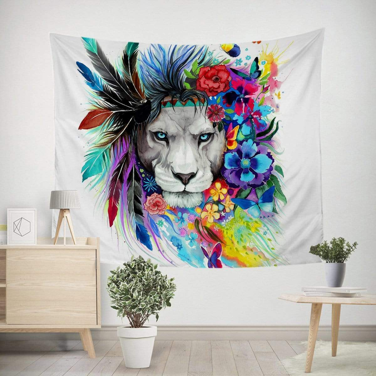 Water Colour Lion Tapestry-Little Squiffy