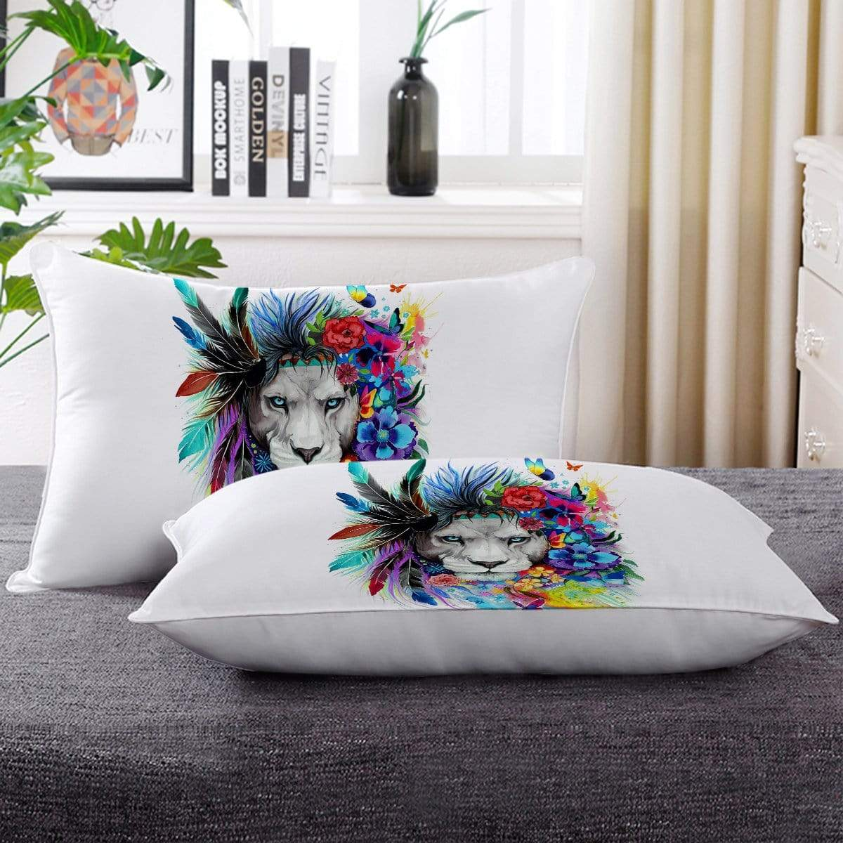 Water Colour Lion Pillow Cases-Little Squiffy