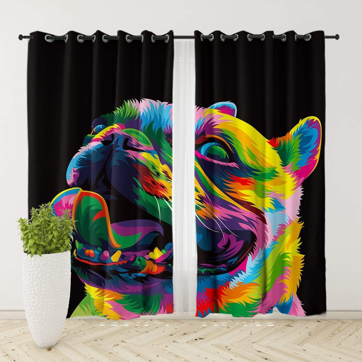 Bright Pug Curtain Set
