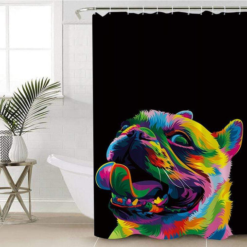 Bright Pug Shower Curtain-Bright Pug-Little Squiffy