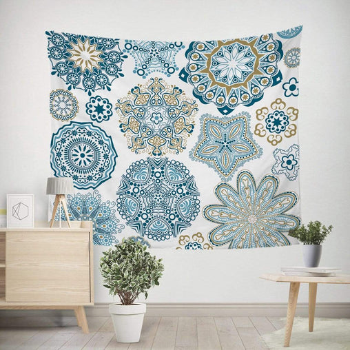 Turquoise Mosaic Mandala Tapestry-Little Squiffy