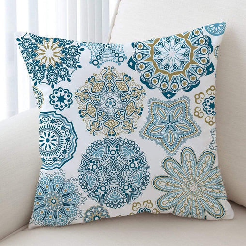 Turquoise Mosaic Mandala Cushion Cover