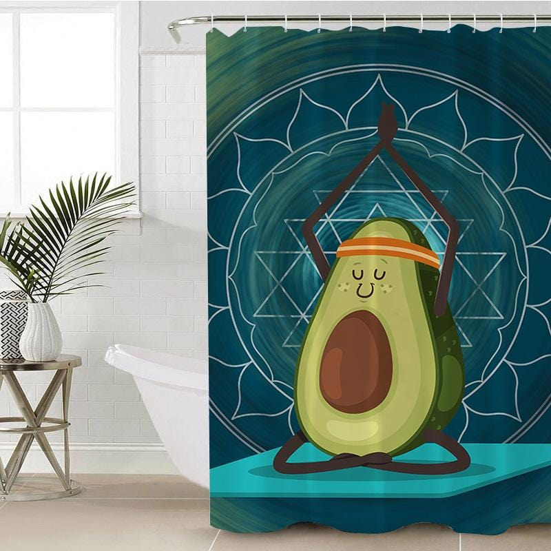 Avocado Yoga Shower Curtain-Avocado Yoga-Little Squiffy