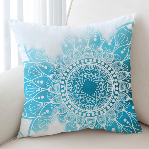 Caribbean Blue Mandala Cushion Cover-Caribbean Blue Mandala-Little Squiffy