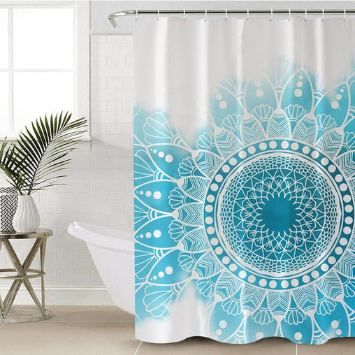 Caribbean Blue Mandala Shower Curtain-Caribbean Blue Mandala-Little Squiffy