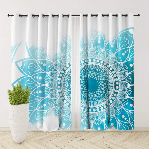 Caribbean Blue Mandala Curtain Set