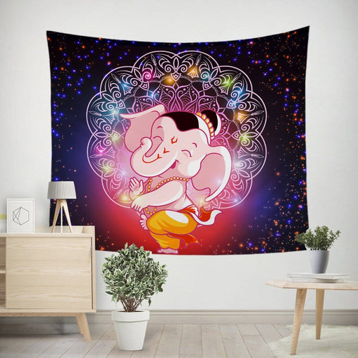 Cartoon Elephant Tapestry-Little Squiffy