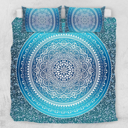 Sea Breeze Ombre Mandala Quilt Cover Set-Sea Breeze Ombre Mandala-Little Squiffy