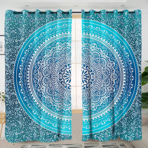 Sea Breeze Ombre Mandala Curtain Set-Sea Breeze Ombre Mandala-Little Squiffy