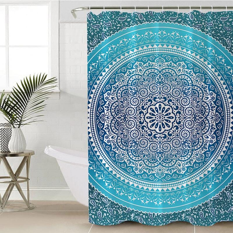 Sea Breeze Ombre Mandala Shower Curtain-Sea Breeze Ombre Mandala-Little Squiffy