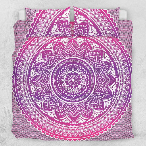 Flamingo Pink Ombre Mandala Quilt Cover Set-Flamingo Pink Ombre Mandala-Little Squiffy