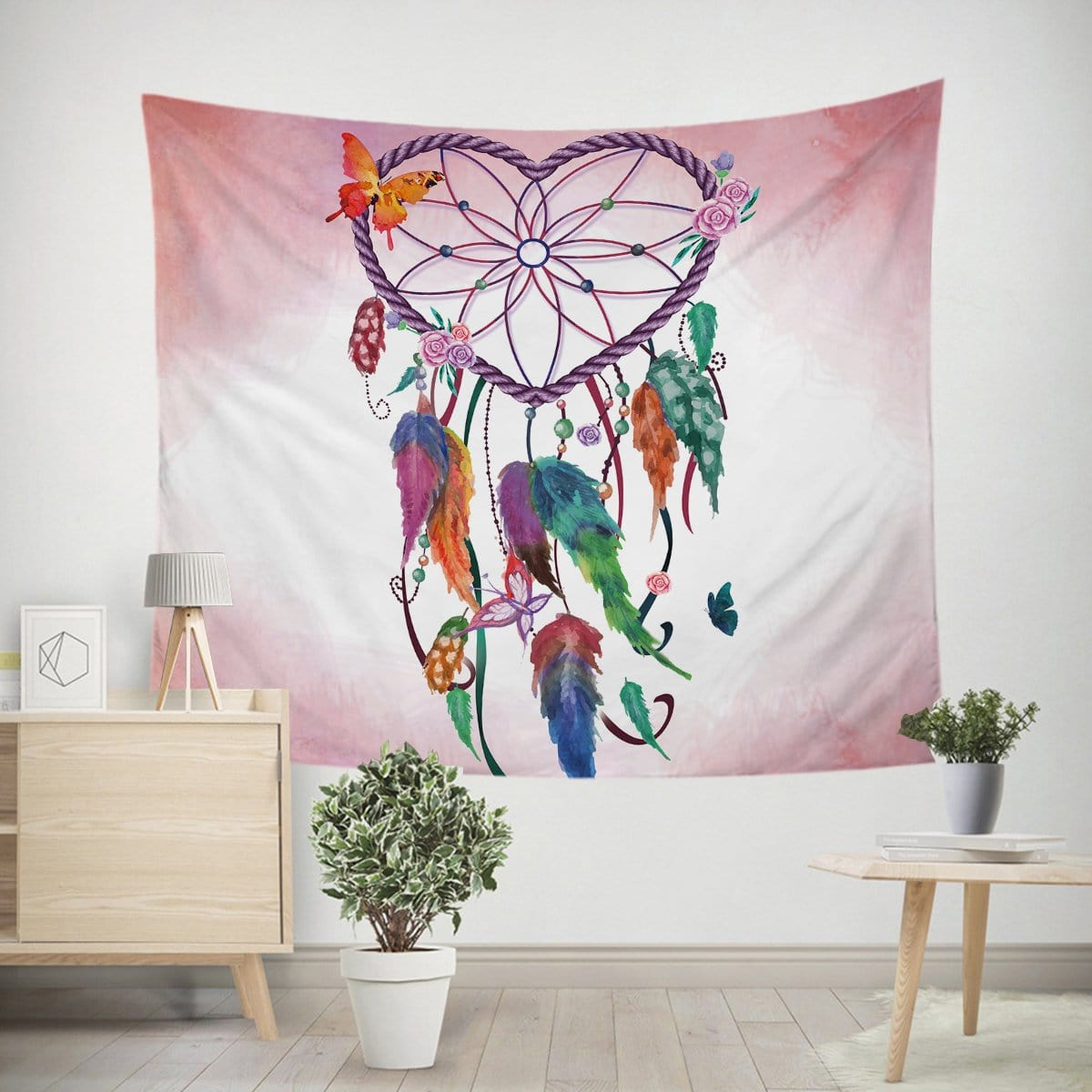 Pink Heart Dreamcatcher Tapestry-Little Squiffy