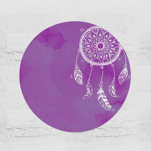 Bahaman Sea Purple Dreamcatcher Round Minky Blanket-Bahaman Sea Purple Dreamcatcher-Little Squiffy