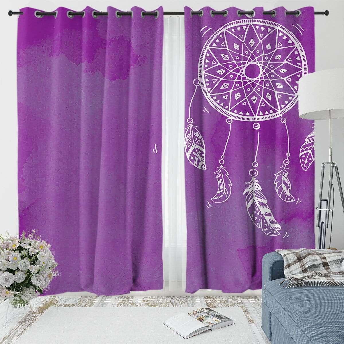 Bahaman Sea Purple Dreamcatcher Curtain Set