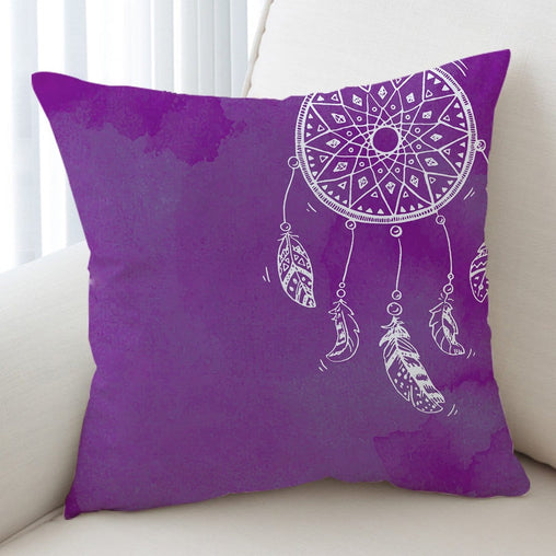 Bahaman Sea Purple Dreamcatcher Cushion Cover-Bahaman Sea Purple Dreamcatcher-Little Squiffy