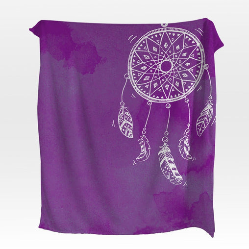 Bahaman Sea Purple Dreamcatcher Squiffy Minky Blanket-Bahaman Sea Purple Dreamcatcher-Little Squiffy