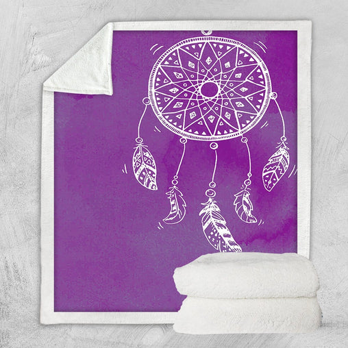Bahaman Sea Purple Dreamcatcher Blanket-Bahaman Sea Purple Dreamcatcher-Little Squiffy