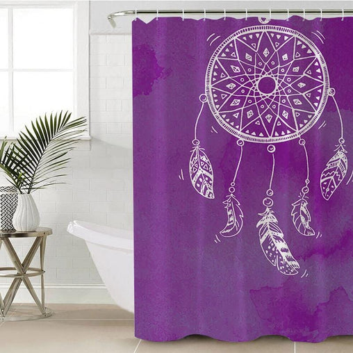 Bahaman Sea Purple Dreamcatcher Shower Curtain-Bahaman Sea Purple Dreamcatcher-Little Squiffy