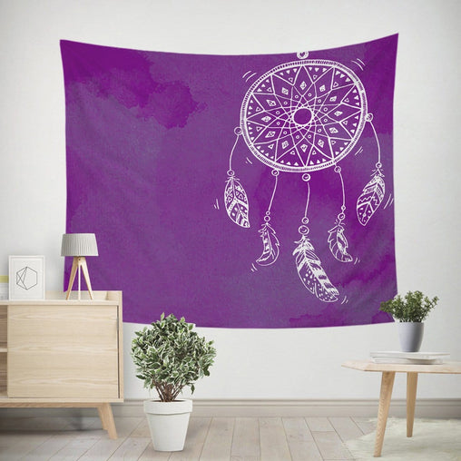 Bahaman Sea Purple Dreamcatcher Tapestry-Bahaman Sea Purple Dreamcatcher-Little Squiffy