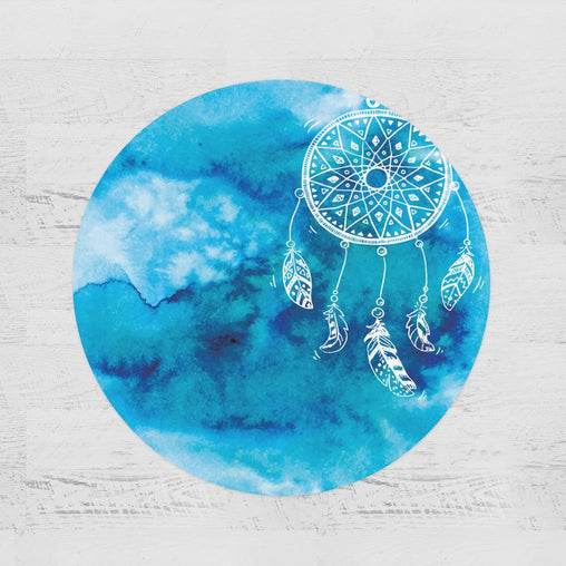 Bahaman Sea Blue Dreamcatcher Round Minky Blanket-Bahaman Sea Blue Dreamcatcher-Little Squiffy