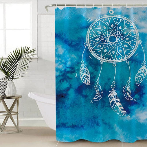 Bahaman Sea Blue Dreamcatcher Shower Curtain-Bahaman Sea Blue Dreamcatcher-Little Squiffy