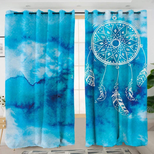 Bahaman Sea Blue Dreamcatcher Curtain Set-Bahaman Sea Blue Dreamcatcher-Little Squiffy