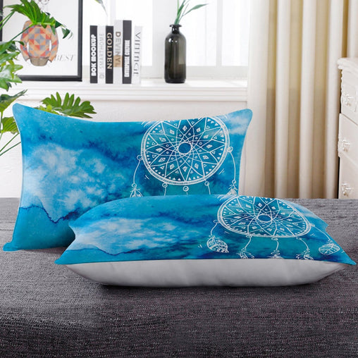Bahaman Sea Blue Dreamcatcher Pillow Cases-Bahaman Sea Blue Dreamcatcher-Little Squiffy