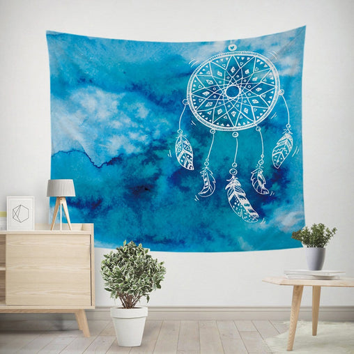 Bahaman Sea Blue Dreamcatcher Tapestry-Bahaman Sea Blue Dreamcatcher-Little Squiffy