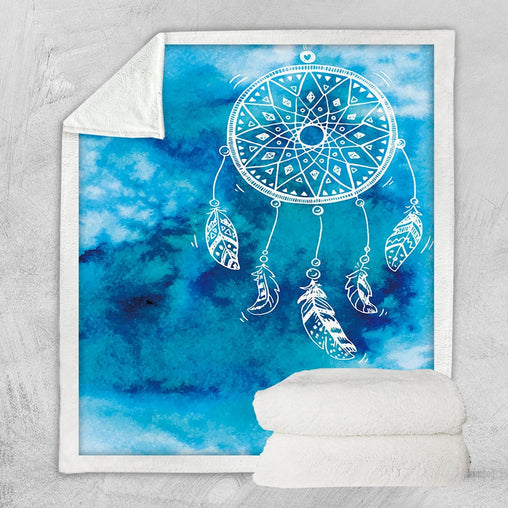 Bahaman Sea Blue Dreamcatcher Blanket-Bahaman Sea Blue Dreamcatcher-Little Squiffy