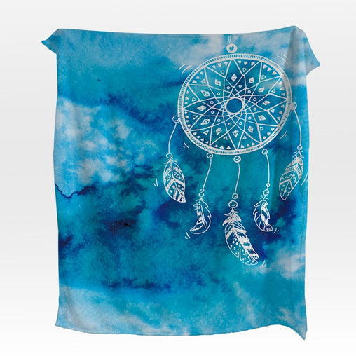 Bahaman Sea Blue Dreamcatcher Squiffy Minky Blanket-Bahaman Sea Blue Dreamcatcher-Little Squiffy