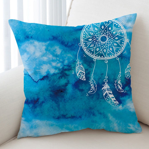 Bahaman Sea Blue Dreamcatcher Cushion Cover-Bahaman Sea Blue Dreamcatcher-Little Squiffy