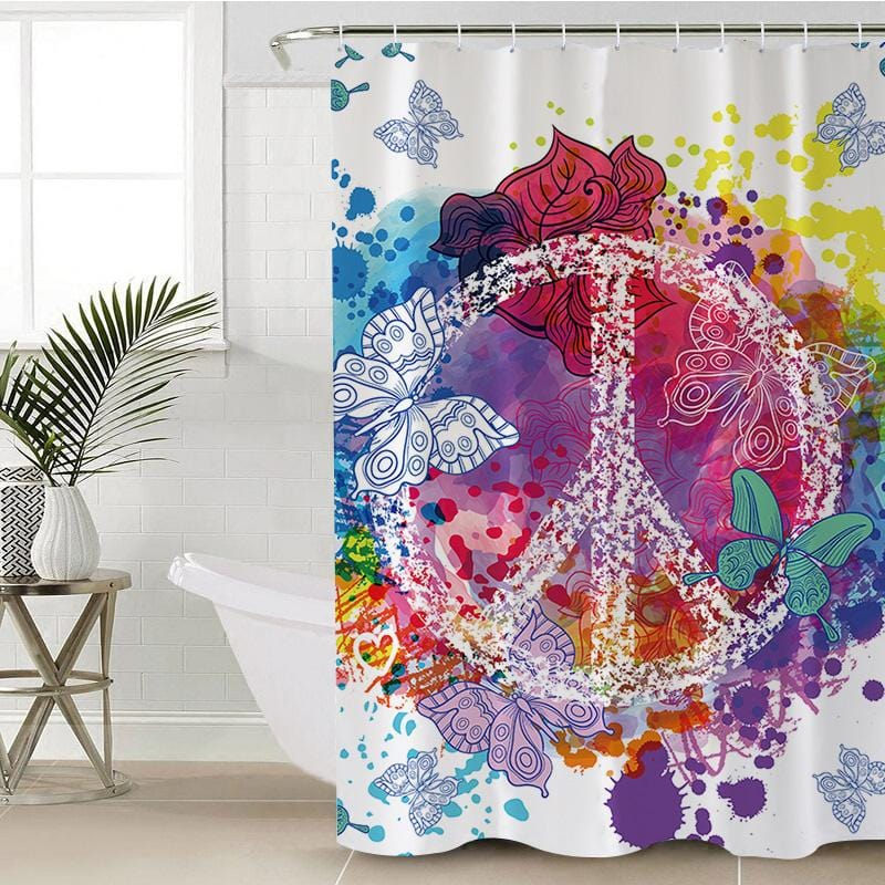 Butterfly Peace Shower Curtain-Butterfly Peace-Little Squiffy