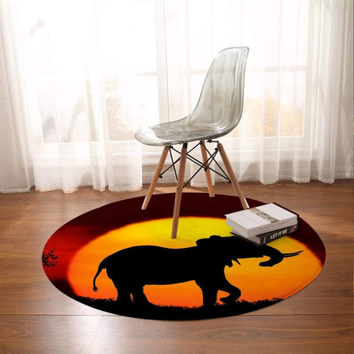 African Sunset Round Mat-African Sunset-Little Squiffy